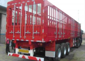 China Double Fence Semi Trailer Truck / Long Vehicle 3 Axle Semi Trailer Color Customized on sale