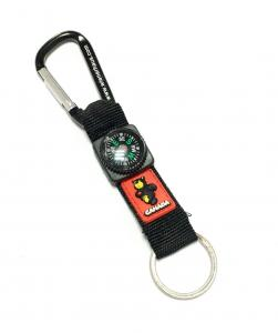 China Black Durable Carabiner Key Ring With PVC Bear Compass Polyester Lanyard on sale