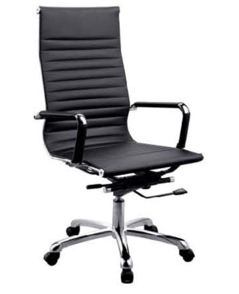 Black Pu Pvc Leather Office Chair Padded Stainless Steel Leg Dx C615