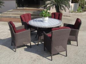 China Plastic Rattan Garden Dining Sets , Strong Brown Dining Table Set on sale