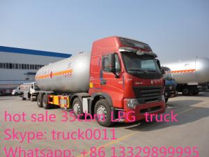 China SINO TRUK HOWO brand LPG gas tank truck for sale, factory sale HOWO brand 35.5m3 bulk propane lpg gas tank truck on sale