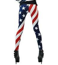 China OEM Comfortable Striped Pantyhose , Footless American Flag Leggings on sale