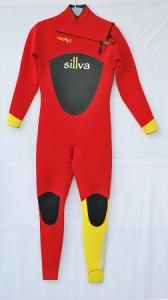 China Red and Yellow  Women  Diving Suit  with Mesh on Chest and back on sale