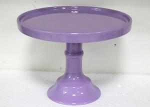 China Customized Color Ceramic Cake Stand Footed Dessert Dolomite Platter For Wedding Party on sale