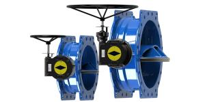 China Ductile Iron Blue Double Eccentric Butterfly Valve Modulating / On Off Type on sale
