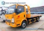 Sino HOWO Yellow 4 Ton Platform Right Hand Drive truck / Car Carrier Euro 4 Single Cab