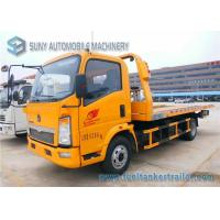 Sino HOWO Yellow 4 Ton Platform Right Hand Drive truck / Car Carrier Euro 4 Single Cab
