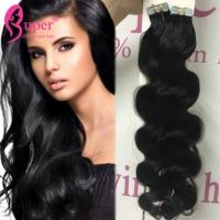 China Grade 8A Soft Glossy Invisible Tape Hair Extensions Real Human Hair Skin Weft on sale