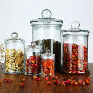 China 150ml 350ml Empty Glass Bottles , Glass Storage Jars Tea For Candy Tea Packing on sale