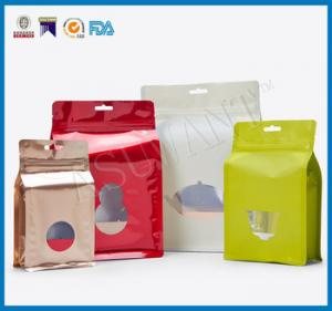 China Custom Laminated Coffee Packaging Bags , Stand Up Pouches FDA Approved With Window on sale