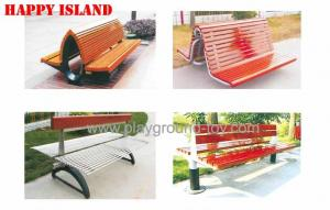 China Pine Solid Wood Park Benches , Garden Park Bench For Park on sale