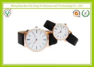China Men Black Business Casual Watches With Geunine Leather Strap on sale
