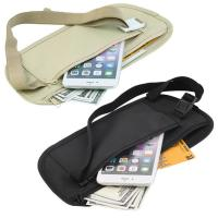 Double Zippered Pockets Travel Fanny Pack With Adjustable Strap Nylon Belt