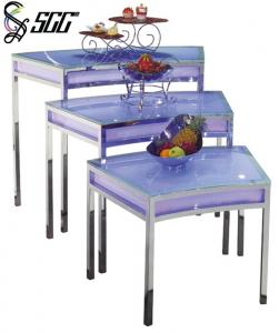 China LED Design Fan Shape Glass Top Buffet Table For Displaying Food And Beverage on sale