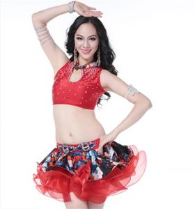 China Red Latin Dance Costume With Diamond Inlay For Dancing Girl on sale
