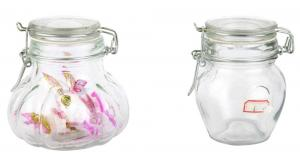 China mini glass container jars with hinged lids on sale