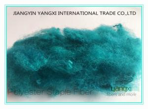 China Turquesa Blue Dope Dyed Pet Staple Fiber Anti Pilling For Needle Punch Non Woven on sale