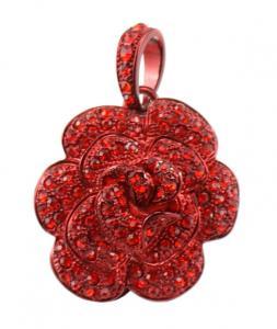 China Red Black Flower Jewelry USB Flash Drive Pendant Custom on sale