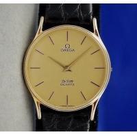 Mens Gents OMEGA DeVille SOLID 14K Gold Watch on Black Leather Strap Gold Dial