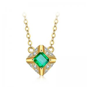 China Square Cut Emerald Pendant Necklace Yellow Gold Emerald Wedding Necklace  on sale
