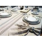 China 100% Linen Cotton Tablecloths , Country Style Leaves Vintage Embroidered Tablecloth wholesale