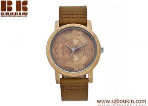 China Custom logo low moq genuine leather band bamboo wood watch on sale