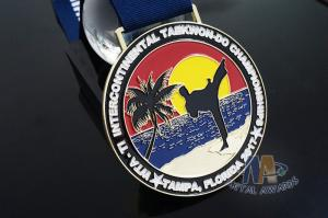 Quality Taekwondo Round Custom Race Medals Sandblast Effect With Gold Plating for sale