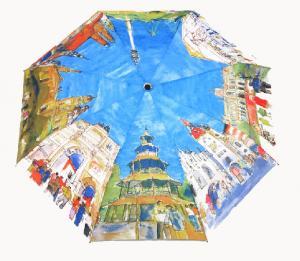 China Unique Design Manual 3 Folding Allover Oil Painting Printing Artist Umbrella on sale