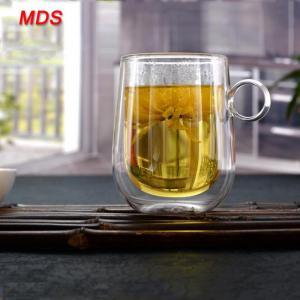 Quality Heat resistant double wall glass coffee tumbler mug with ring handle for sale