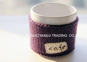 China Cafe logo purple embroidery hand knitted mug warmer sleeve cup sweater on sale
