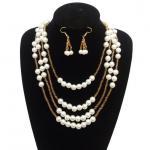 Nuevas gotas cristalinas martilladas Necklaces&Earrings pendiente de largo acodado del collar de la perla del encanto