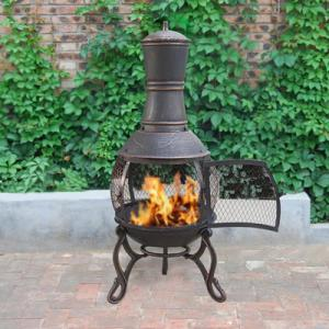 China Charcoal And Wood Cast Iron Garden Chimney Antique Cast Iron Fireplace Corrosion Resistance on sale