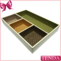 Fine Japanese Korean American Styles White Leather Home Collector Case Tray with Compartments