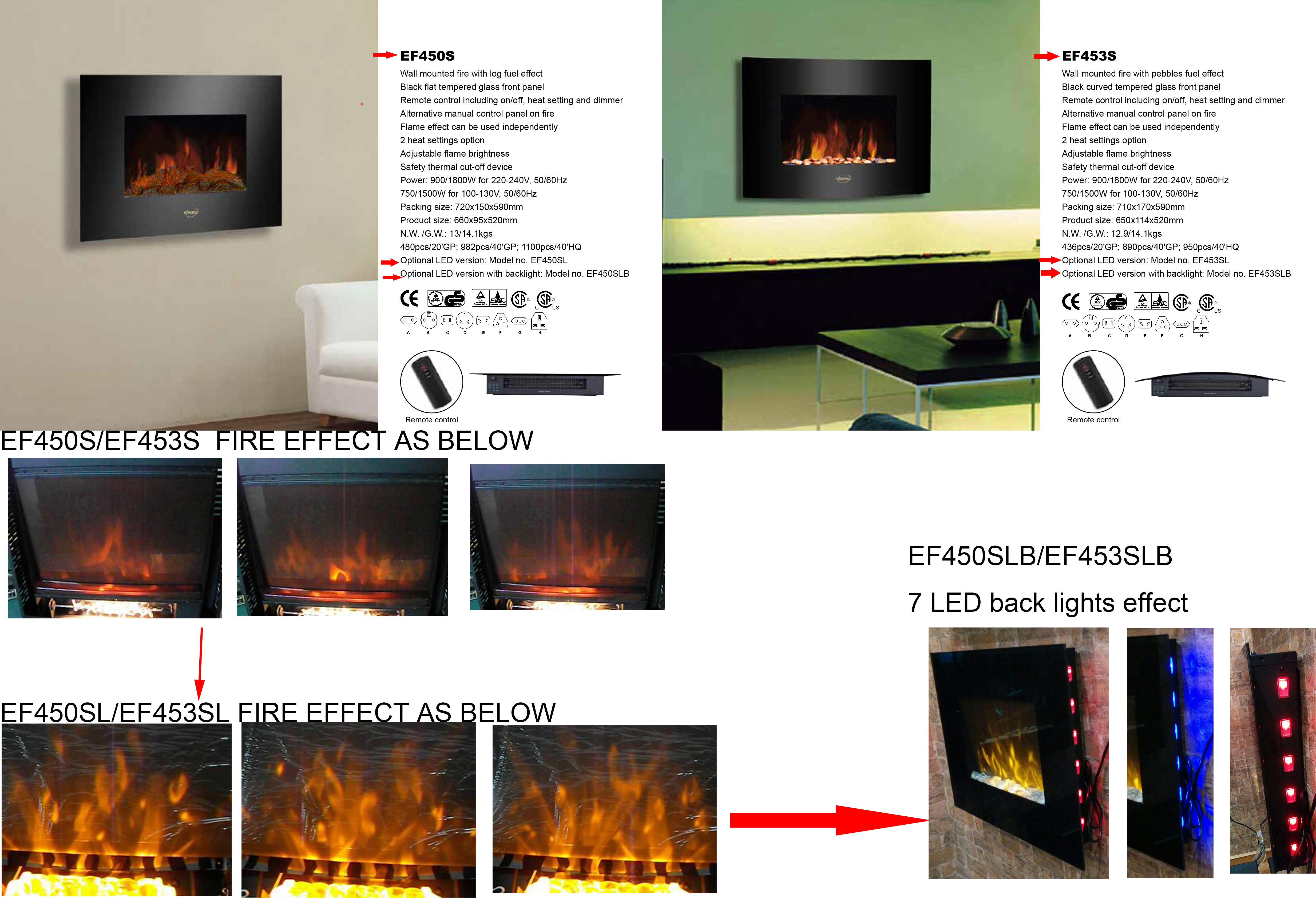 wall mounted electric fireplace heater pebbles fuel 35black curved