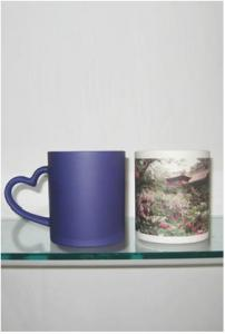 China Sublimation Matting Blue Heart Handle Mug on sale