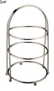 China Round Stainless Steel Cake Shelf With Round Ball Legs / Metal High Tea Cake Stand on sale