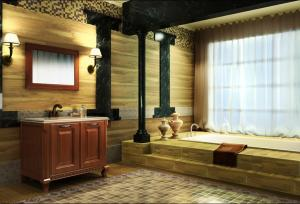 China Red Cherrywood  color cabinet  with marbleworktop and cermical  basin waterproof bathroom cabinet BS9032QM on sale