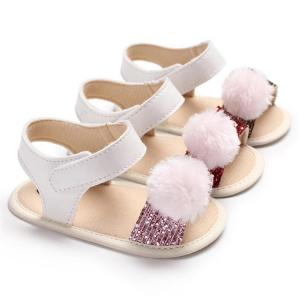 China Free sample sequin Fluff ball lovely Newborn toddler sandals shoes baby on sale