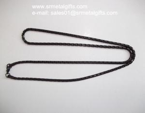 China Black plated steel box chain necklace link chain necklace jewelry on sale