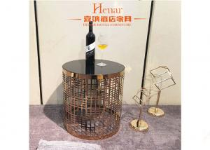 China Hotel Living Room Furniture , Luxury Decor Metal Wire Base Round Coffee Table on sale