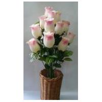 Artificial Rose Bud Bush in Pink and White