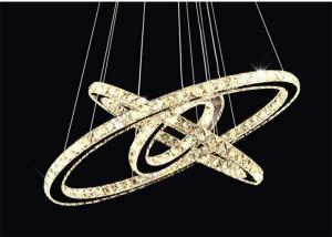 China Diamond Crystal Chrome Mirror Finish 64W Stainless Steel Modern Ring Light on sale