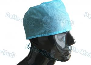 China Blue PP Handmade Disposable Surgical Caps , Medical Doctor Scrub Caps 15 - 35gsm on sale
