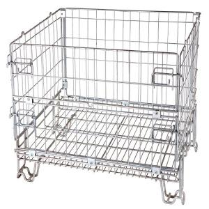 China Logistics Wire Mesh Crate 4 Layers Stackable Space Saving High Visibility on sale