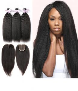 China Peruvian Kinky Straight Human Hair Weave Closure With Three Bundles Natural Color on sale