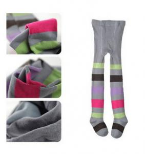 China OEM Cute Kids Striped Pantyhose , Patterned Grey Cotton Tights on sale