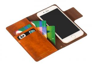 China Handmade Brown Leather Flip Wallet Case / Iphone 8 Plus Leather Case Custom on sale