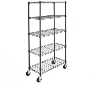 China 5-Shelf Shelving Storage Unit on 4'' Wheel Casters Metal Organizer Wire Rack on sale