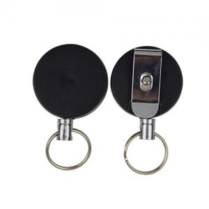 China Metal Round Retractable Badge Reel , Heavy Duty Retracting Id Card Reels on sale