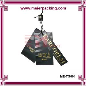 China Customized printing hangtag, black paper tag with glossy golden logo ME-TG001 on sale